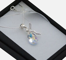 925 Sterling Silver Necklace made with Swarovski Crystals *Crystal AB* Elf/Fairy