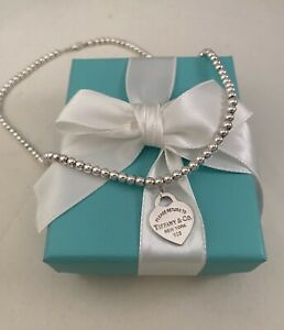 """Tiffany & Co Sterling Silver Small Heart Tag On A Bead Necklace 16"""". RRP $725"""
