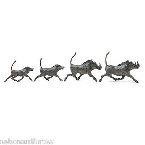 """Jonathan Sanders """"Warthog Parade"""" Solid Bronze Sculpture by Nelson & Forbes"""