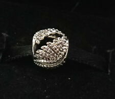Authentic PANDORA Sterling Silver Clear Majestic Feathers Bead Charm 791749CZ