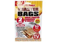 4 REUSABLE TOASTER BAGS NON STICK TOASTY TOAST SANDWICH TOASTIE POCKETS BAG NEW
