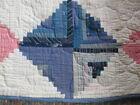 Vintage machine stitched Log Cabin variation quilt 70 x 72 inches