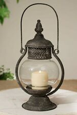 """Distressed Sepia Candle Lantern with Glass Chimney, 6"""" x 11"""" , Tin"""