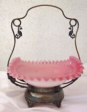 Victorian Brides Basket Bowl Cased Cranberry Pink Glass Silverplate Dragon Stand