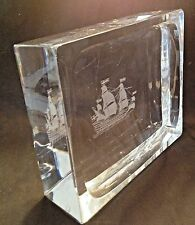 "BIG&HEAVY-TALL SHIP ETCHED DESIGNER GLASS BLOCK DISH-10""X8""X3""-Weighs 20 Pounds"