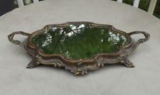 "Vintage Brass Mirrored Vanity Tray Italy 19"" Long Handles Plateau"