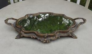 """Vintage Brass Mirrored Vanity Tray Italy 19"""" Long Handles Plateau"""