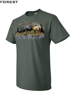 Montana Elk Country Vintage T-Shirt Outdoor Hunting USA Lake Tree Retro Design