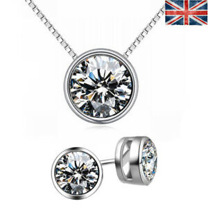 Christmas Gift  Sterling Silver SWAROVSKI ELEMENTS CRYSTAL Earring + NECKLACE