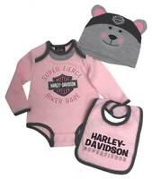 Harley-Davidson Baby Girls' Bear 3D Newborn Creeper Set w/ Hat & Bib (6/9M)