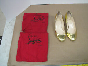Christian Louboutin Gold Metallic Wedges- Size 38 Red Bottoms