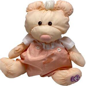 Vintage Fisher Price Puffalumps Bear Peach Romper 1986 Plush Stuffed Animal