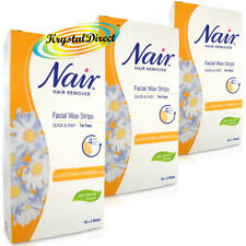 Nair 36 Facial WAX STRIPS Waxing Hair Removal with Camomile Extract - For Face
