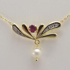Kette Collier Gold 585 Perle Rubin Halskette Damenkette 50cm
