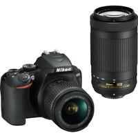 Nikon D3500 DSLR Camera with 18-55mm and 70-300mm Lenses - Black 2 Lens Kit