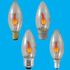8x 3W Flicker Flame Candle Clear Light Bulb Chandelier Lamp BC ES SBC SES
