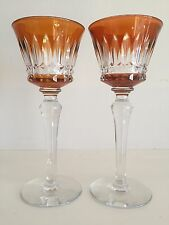 SET 2 BACCARAT Crystal Piccadilly Cut to Clear ORANGE Rhine Wine Hock Goblets