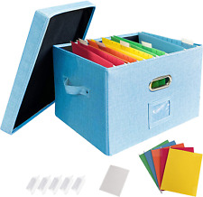 Jsungo File Organizer Box Office Document Storage With Lid Collapsible Linen Ha