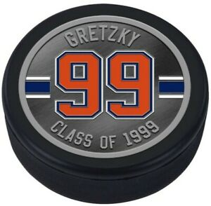Wayne Gretzky Edmonton Oilers HHOF 3D Textured Silver Plated Medallion Puck