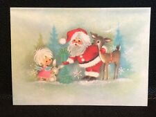 Vintage Christmas Card Charles Dickens Parchment Santa Reindeer Angel Unused