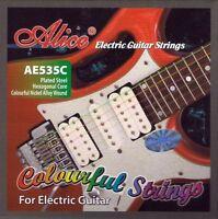 Set of 6 Strings Alice Multi Coloured Electric Guitar Strings Gauges 9 - 42 UK