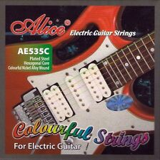 Set 4 Strings Alice Multi Coloured Electric Guitar Strings Gauges 9 - 42 Colour