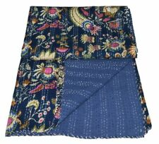 Twin Blue Mukat Print Cotton Kantha Quilt Indian Vintage Blanket Bohemian Throw
