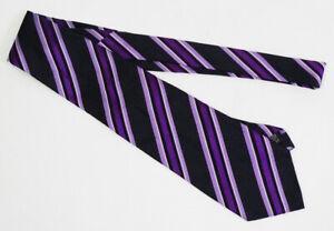 Banana Republic Purple Striped Black Silk Blend Tie