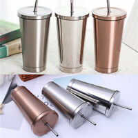 500ML Stainless Steel Tumbler Drinking Mugs Cup Flask with Straw Coffee Travel