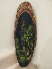 S38 vintage oil painting on wooden tree limb empire state building floral