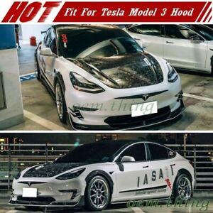 2021 For Tesla Model 3 Sedan Front Hood Scoop Bonnet Forge Carbon Fiber