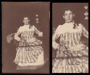 SILENT TRANSGENDER MAN CLOSES EYES in FABU GAY EVENING GOWN~ 1910s VINTAGE PHOTO