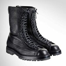 Grenson x Lou Dalton NEW Black Leather High Lace Up Boots UK 9.5 F US 10.5 $925