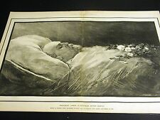 Death Bed PRESIDENT JAMES A. GARFIELD After Death Funeral 1881 Large Folio Print