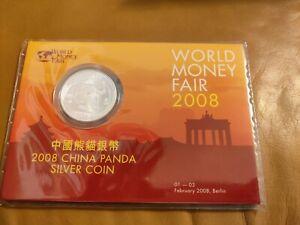 China 10 Yuan Silber Panda 2008  WORLD MONEY FAIR Berlin im FALTBLISTER
