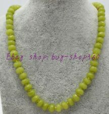 """Beautiful 5x8mm Faceted Natural Olivine Abacus Gemstone Necklace 18""""AAA"""