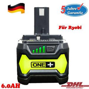 Für P108 Ryobi Akku 18V 6,0Ah Lithium Ionen Batterie One+ Plus RB18L50 P104 DE