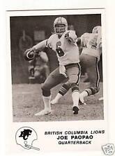 1981 Jogo CFL #30 Joe Paopao  RC  QB BC LIONS