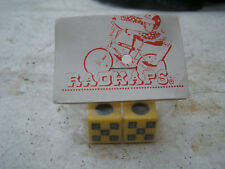 RADKAPS CHKERD VALVE CAPS NOS 80S WHEELS TIRES RIMS BMX CRUISER FREESTYLE  BK