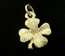 C026 Genuine 9ct Solid Yellow Gold Detailed Lucky Clover Charm 3D + jump-ring