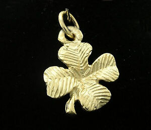 C030 Genuine 9ct Solid Yellow Gold Detailed Lucky Clover Charm 3D + jump-ring