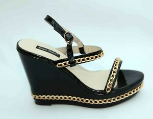 LADIES SERGIO TODZI BLACK PATENT SHOES SANDALS SIZE 6 39 SLING BACK WEDGE CHAIN