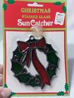 Vintage christmas wreath Suncatcher.stained glass..kmart..new