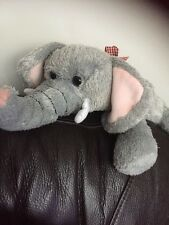 TESCO ELEPHANT GREY Pink SOFT TOY RED CHECK RIBBON COMFORTER PLUSH CUDDLY OLD WD