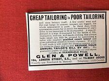 m2j ephemera 1913 advert glen & powell tailors london tilbury