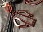 "Harley CVO custom metal tank emblems 3.7"" black with red pinstripe"