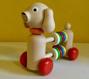 NEW baby Activity toy,wooden,dog,abacus,push along,counting Beads,counters,child