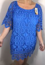 Stretchy Lace Bardot Dress Royal Blue Soft Knee Length STUNNING One Size