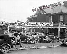 Photograph of Used Car Lot in Lancaster Ohio  Year 1938  8x10