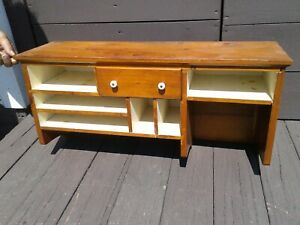 Antique Pine Hanging Cubby Desk Cabinet w Painted Interior